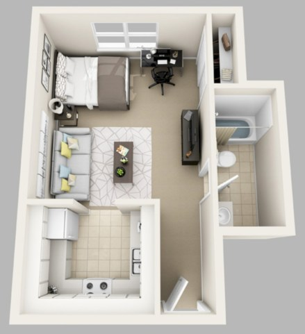 Creative two bedroom apartment plans ideas 24