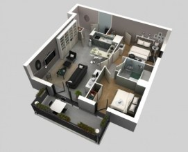 Creative two bedroom apartment plans ideas 25