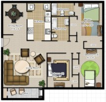 Creative two bedroom apartment plans ideas 50
