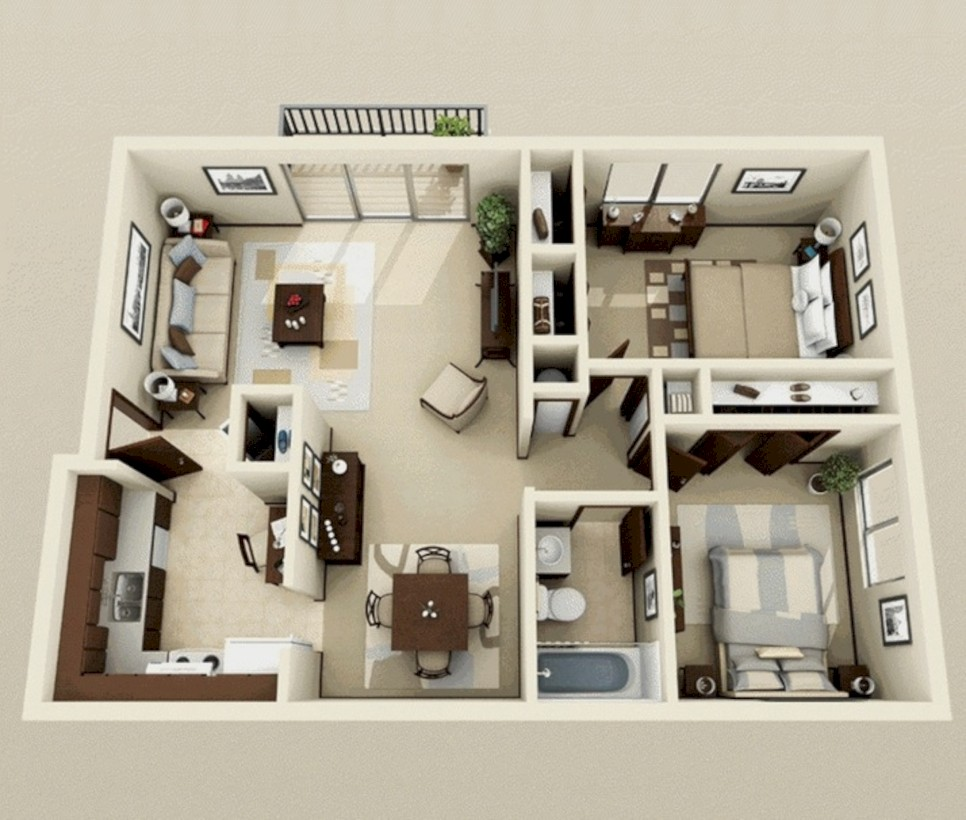 52 Creative Two Bedroom Apartment Plans Ideas