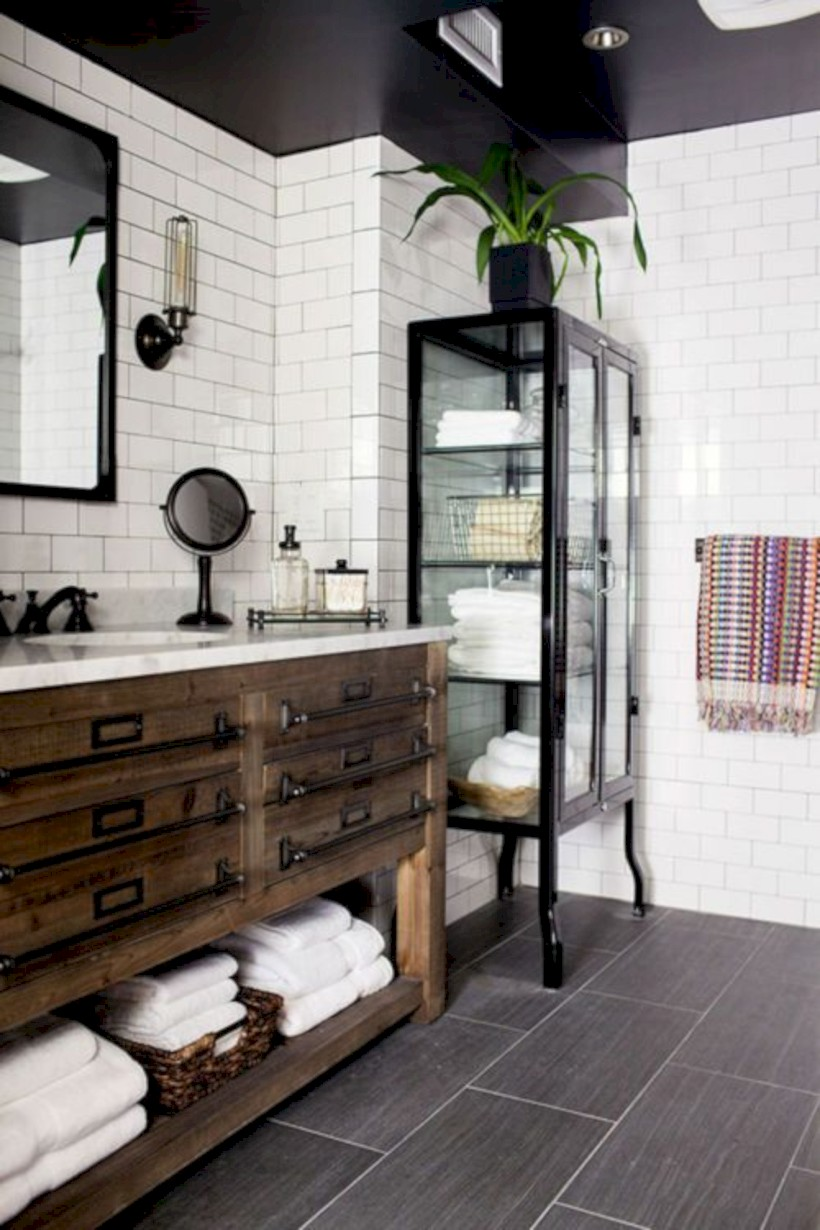 Industrial vintage bathroom ideas (44)