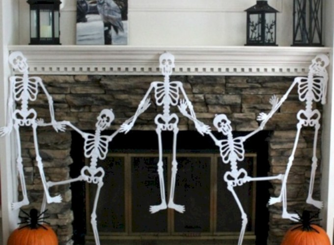 Inspiring halloween fireplace mantel ideas 32