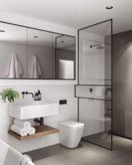 Modern bathroom with floating sink decor (54)