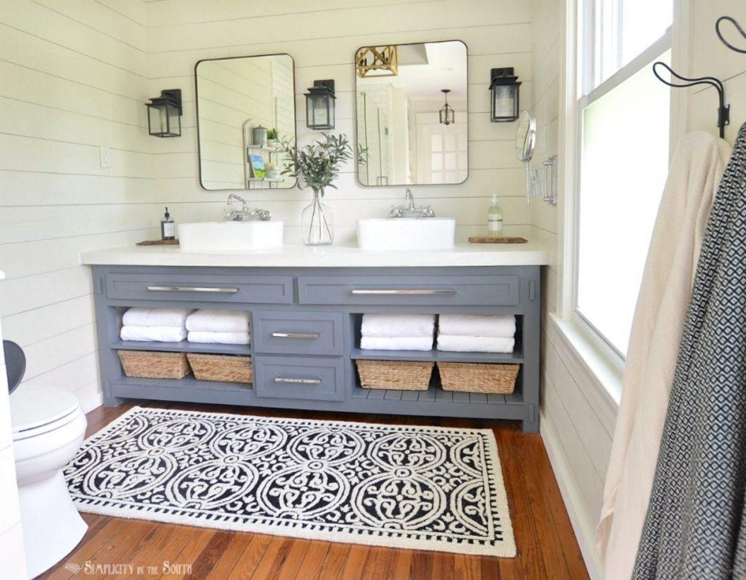 46 Paint Colors Farmhouse Bathroom Ideas - ROUNDECOR on Farmhouse Bathroom Remodel Ideas  id=74119