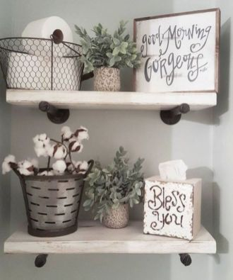 Rustic diy bathroom storage ideas (38)