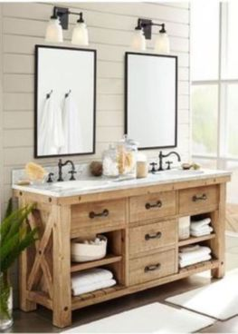 Rustic farmhouse bathroom ideas you will love (18)