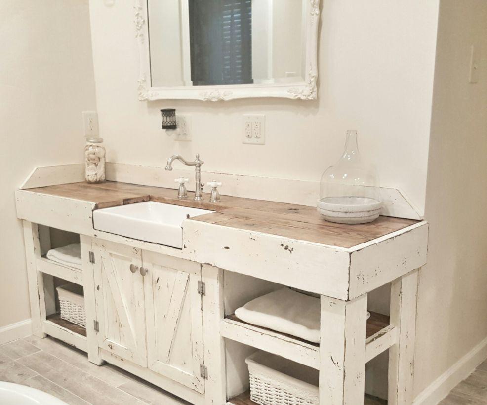 44 Rustic Farmhouse Bathroom Ideas You Will Love - ROUNDECOR on Rustic Farmhouse Bathroom  id=29310