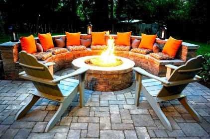 Stunning outdoor stone fireplaces design ideas 16