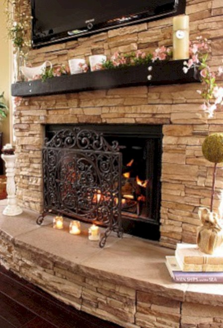 Stunning outdoor stone fireplaces design ideas 19
