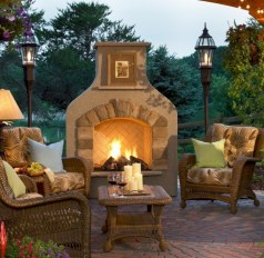 Stunning outdoor stone fireplaces design ideas 22