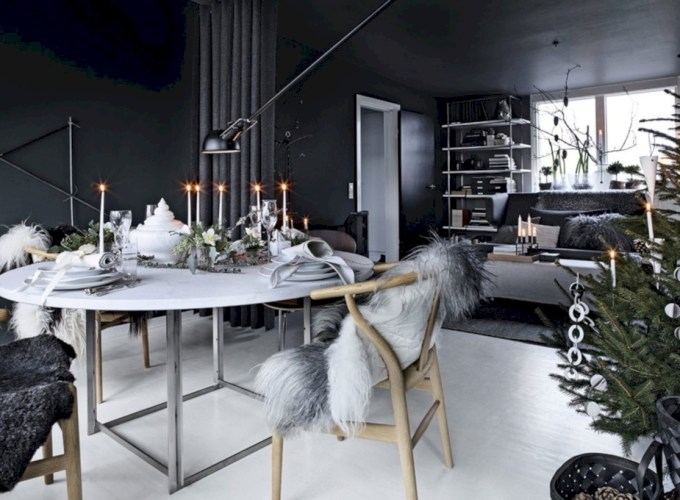 Stylish christmas décoration ideas with stylish black and white 51