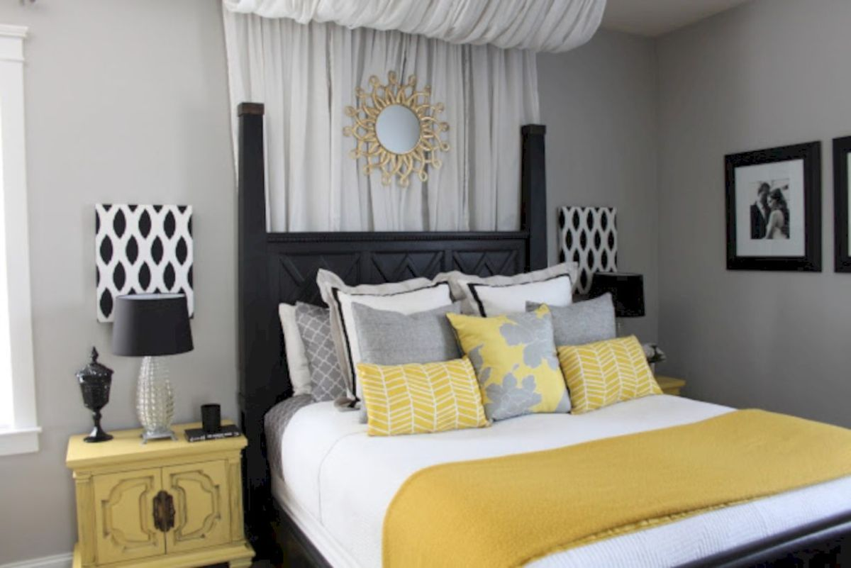 Visually pleasant yellow and grey bedroom designs ideas 04