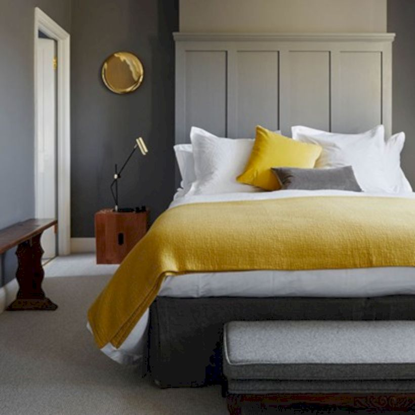 Visually pleasant yellow and grey bedroom designs ideas 05