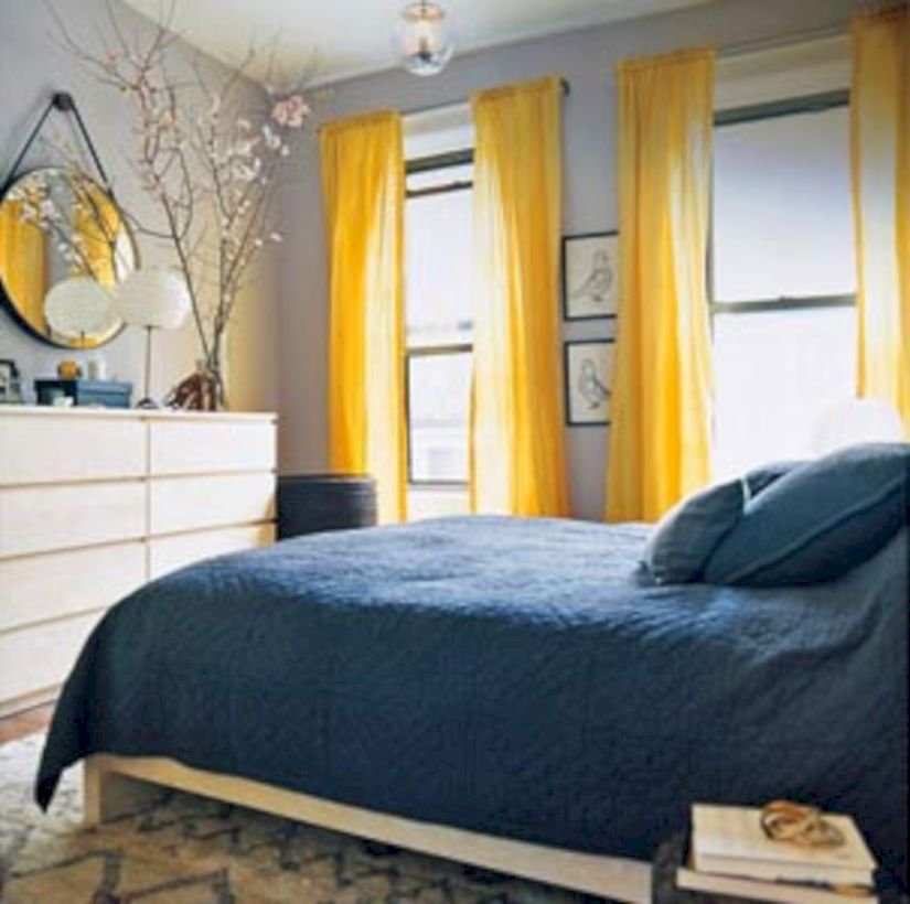 Visually pleasant yellow and grey bedroom designs ideas 08