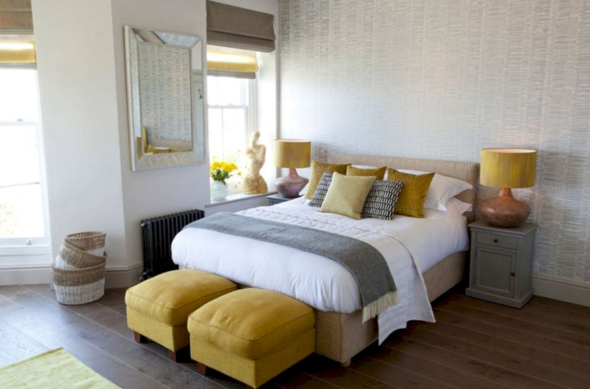 Visually pleasant yellow and grey bedroom designs ideas 37