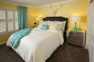 Visually pleasant yellow and grey bedroom designs ideas 45