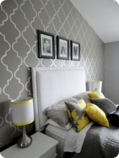 Visually pleasant yellow and grey bedroom designs ideas 46