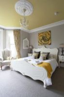 Visually pleasant yellow and grey bedroom designs ideas 48