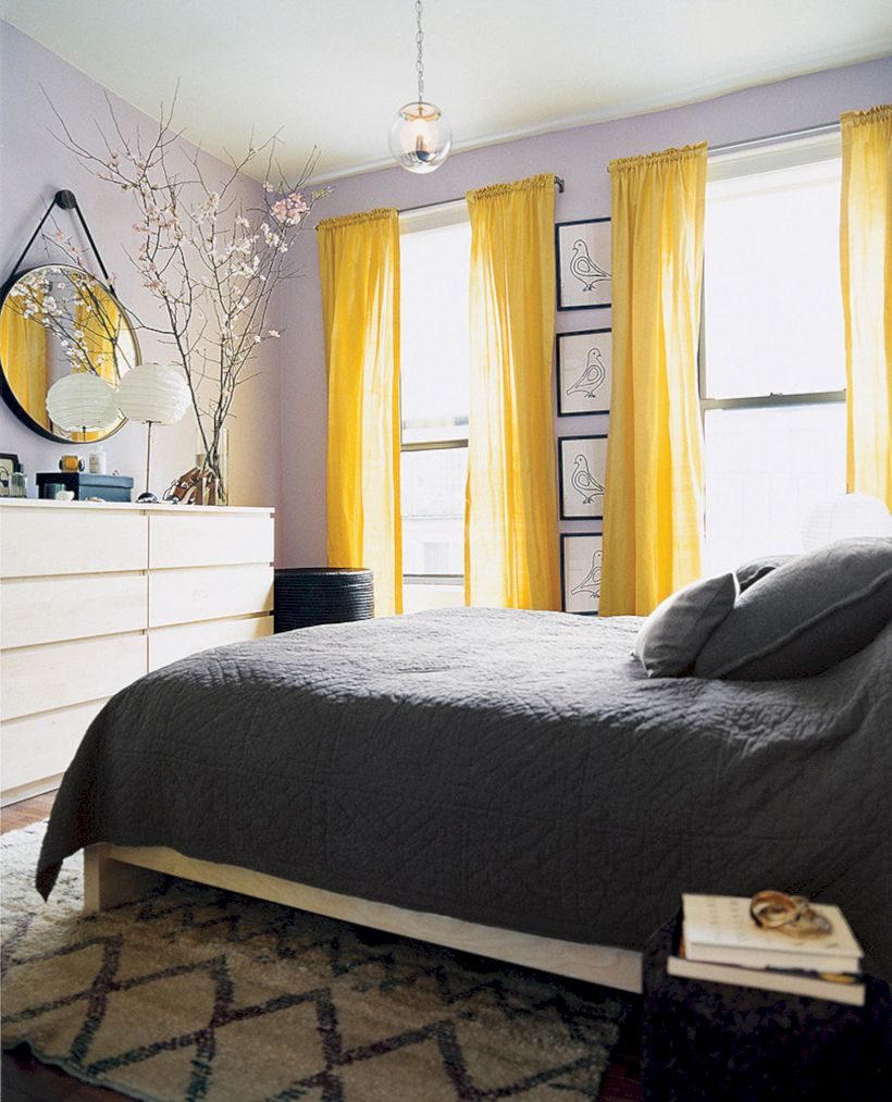 Visually pleasant yellow and grey bedroom designs ideas 50