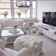 White furniture living room ideas for apartments 10