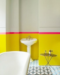 Yellow tile bathroom paint colors ideas (14)