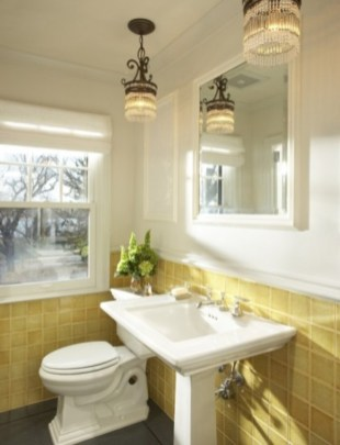 Yellow tile bathroom paint colors ideas (17)