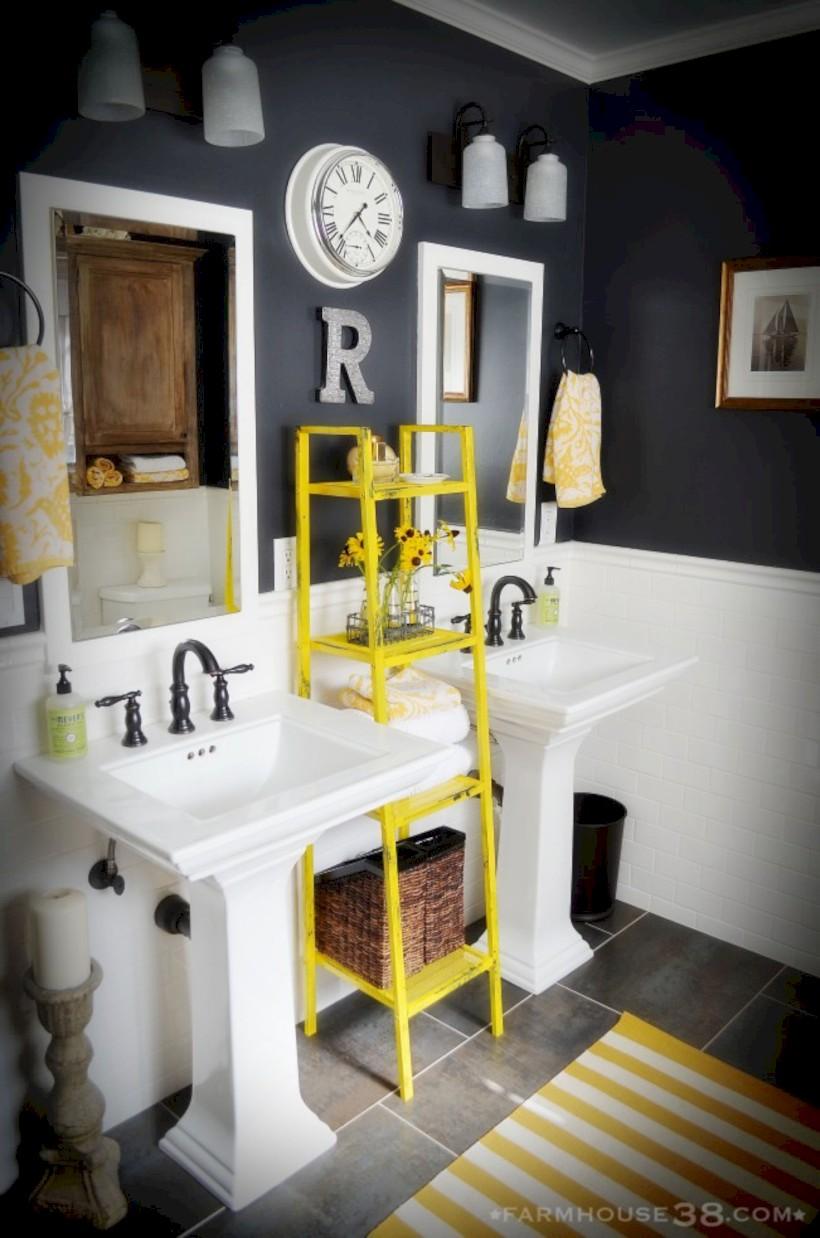 Yellow tile bathroom paint colors ideas (38)