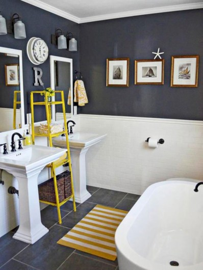 Yellow tile bathroom paint colors ideas (43)