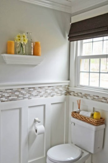 Yellow tile bathroom paint colors ideas (45)
