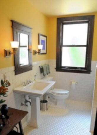 Yellow tile bathroom paint colors ideas (46)