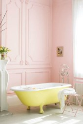 Yellow tile bathroom paint colors ideas (48)