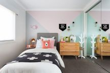 Cool kids bedroom with pink colour 13