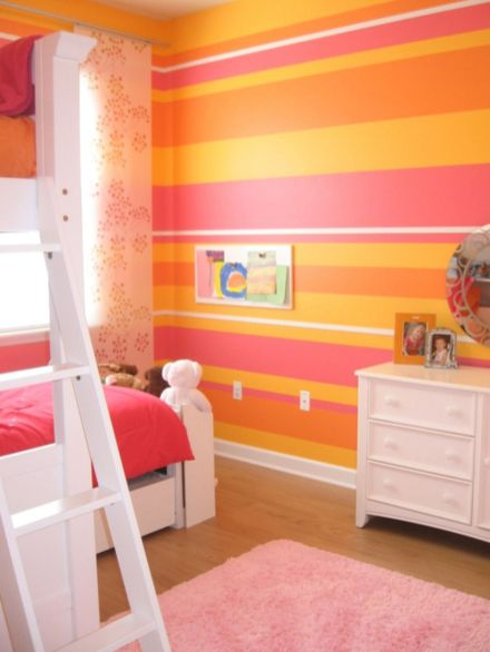 Cool kids bedroom with pink colour 45