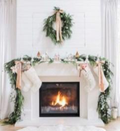 Elegant white fireplace christmas decoration ideas 03