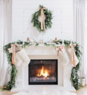 Elegant white fireplace christmas decoration ideas 03