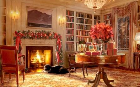 Elegant white fireplace christmas decoration ideas 04
