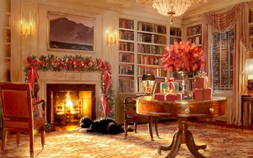 Elegant white fireplace christmas decoration ideas 04