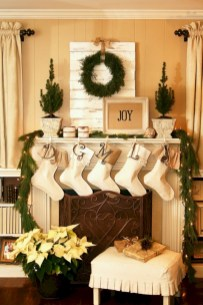 Elegant white fireplace christmas decoration ideas 13