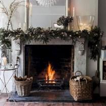 Elegant white fireplace christmas decoration ideas 21