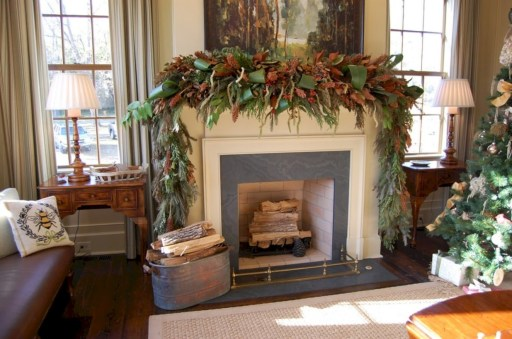 Elegant white fireplace christmas decoration ideas 23