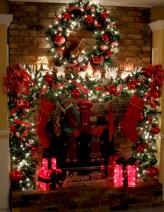 Elegant white fireplace christmas decoration ideas 25
