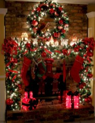 Elegant white fireplace christmas decoration ideas 25