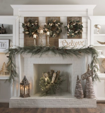 Elegant white fireplace christmas decoration ideas 40