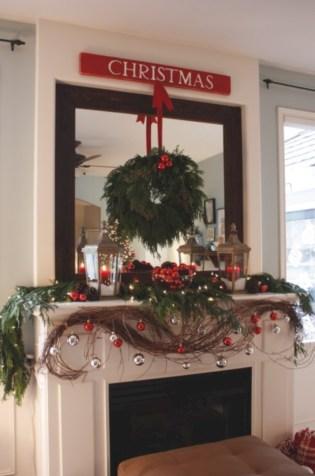 Elegant white fireplace christmas decoration ideas 44