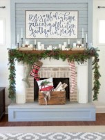 Modern farmhouse fireplace christmas decoration ideas 18
