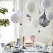 Stylish silver and white christmas table centerpieces ideas 12