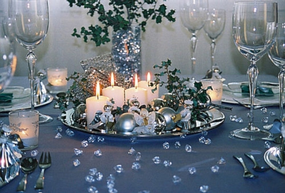 Image result for blue christmas table setting ideas