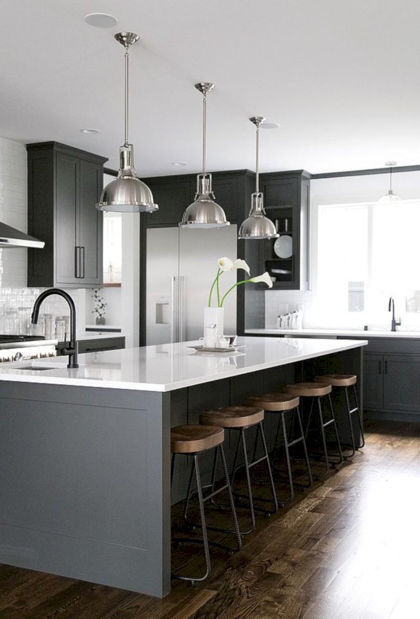 Adorable grey and white kitchens design ideas 06