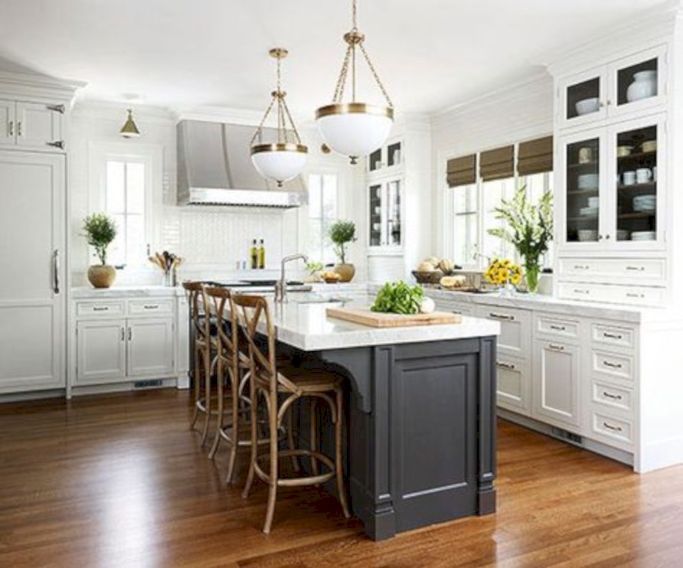 Adorable grey and white kitchens design ideas 19