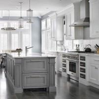 Adorable grey and white kitchens design ideas 23